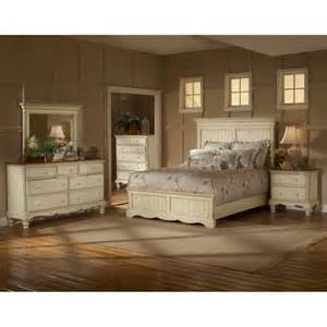 White King Bedroom Furniture Set by Wilshire Antique White King Four Piece Panel Bedroom Set