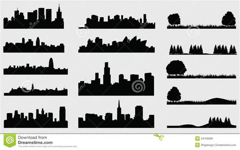 Wall Stickers World Map landscpace silhouette cities royalty free stock images