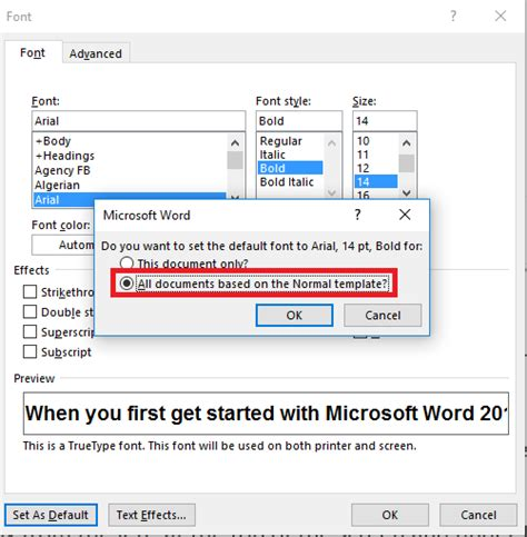 how to change font defaults in microsoft word 2016 for