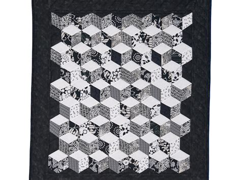 Ac 6423 Black tumbling blocks quilt wonderful made with care amish