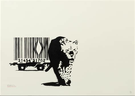 barcode banksy signed limited edition print hang up