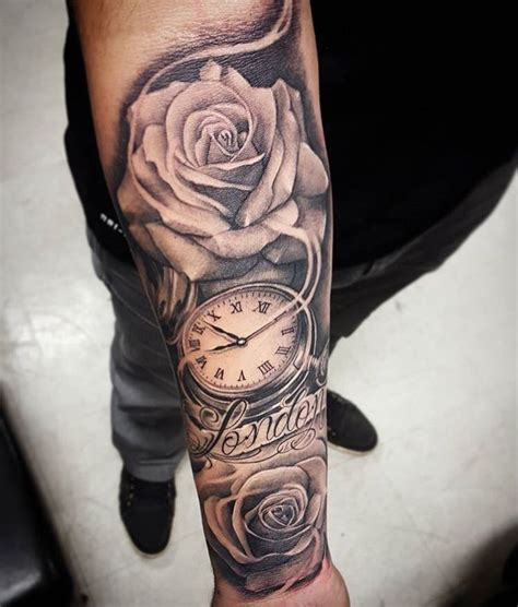 clock and rose tattoos 25 best ideas about arm tattoos on tatto