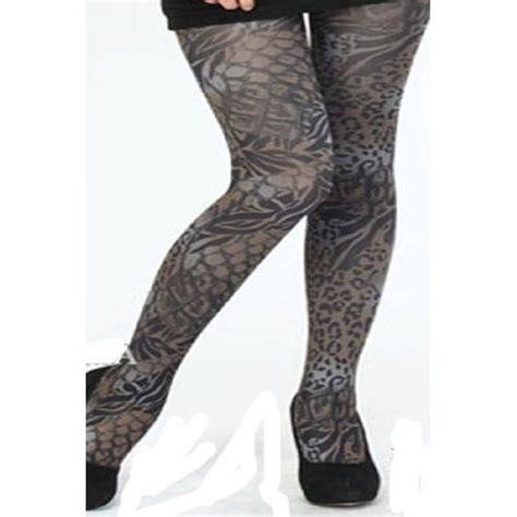 grey patterned running tights bamboo winter warm punk pattern opaque thick tights