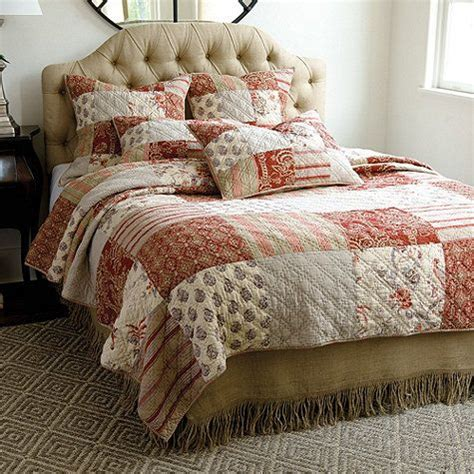 burlap comforter annabel heirloom patchwork quilted bedding quilt bed