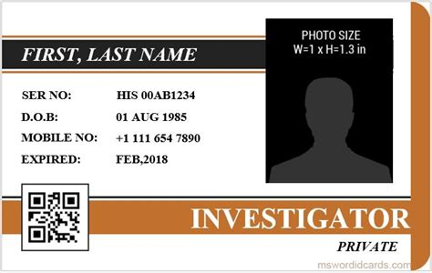 card 5 id template 5 best investigator id card templates ms word microsoft