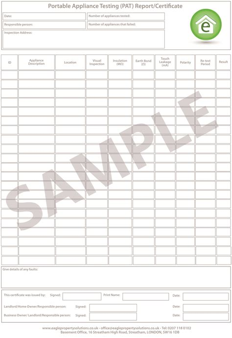 gallery of pat testing record sheet template emergency