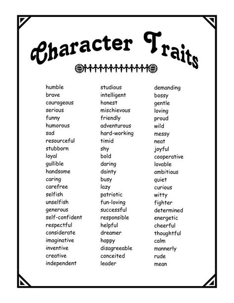 Character Qualities Letter character traits mental health therapy ideas