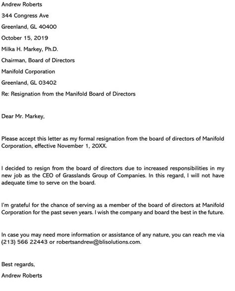board position resignation letter samples examples