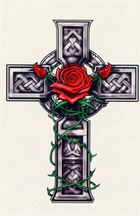 rose and cross tattoo designs and cross meaning images