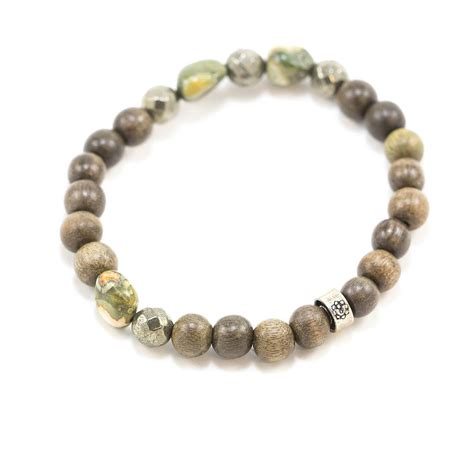 mens beaded bracelet s grey wood and moss agate beaded bracelet niyama