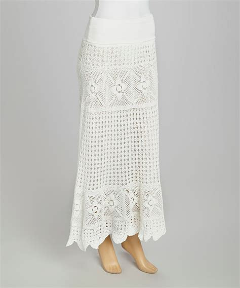 white crocheted maxi skirt my way