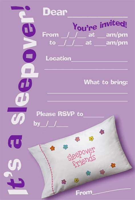 Free Printable Sleepover Invitation Templates hello coloring pages
