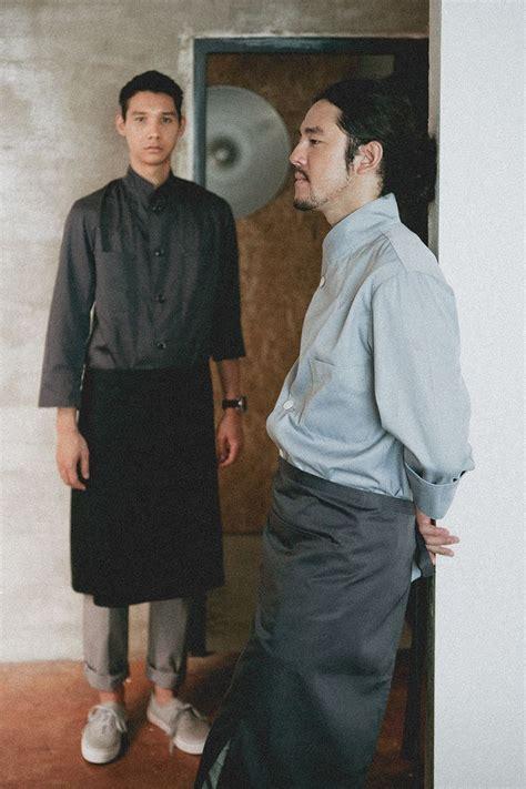 Apron Celemek Fashion Chef Barista working wear guoup amont chef coat chef barista restaurant grey apron