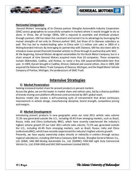general motor strategic management analysis