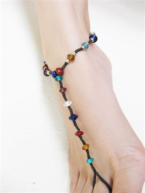 Handmade Anklets - anklet toe ring barefoot sandals footwear colorful glass