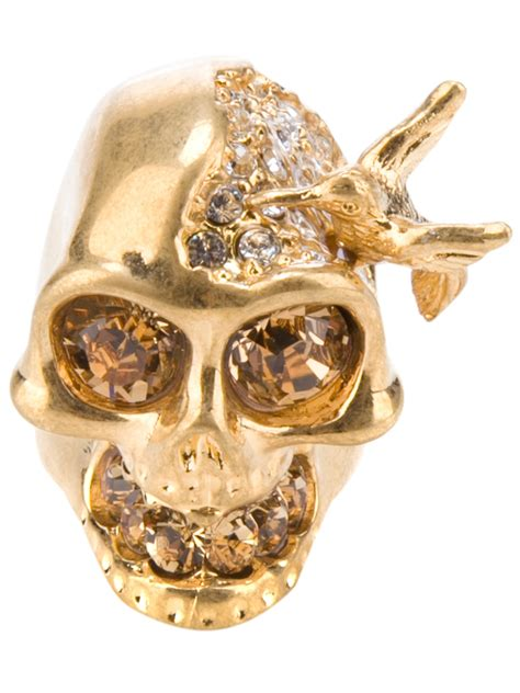 mcqueen embellished skull ring in gold lyst