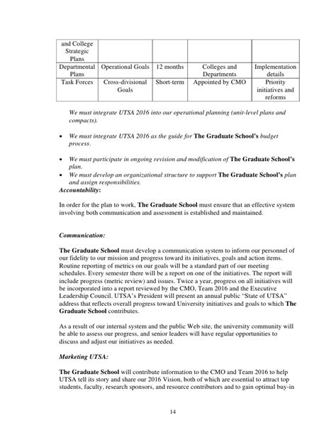 strategic plan template for schools 29 grad school draft unit strategic plan template