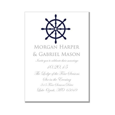 nautical wedding invitation template quot nautical wheel