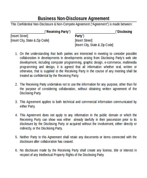 business plan non disclosure agreement template business non disclosure agreement details business