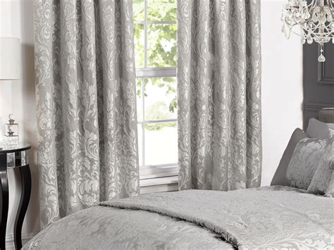 grey metallic curtains deluxe boston jacquard lined curtains in metallic grey