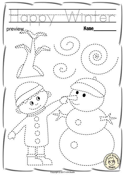 Pre K Coloring Pages Pdf by Winter Trace And Color Pages Motor Skills Pre