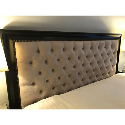Z Gallerie Espresso Wood Tufted Fabric King Sized Bed Z Gallerie Bed Frame