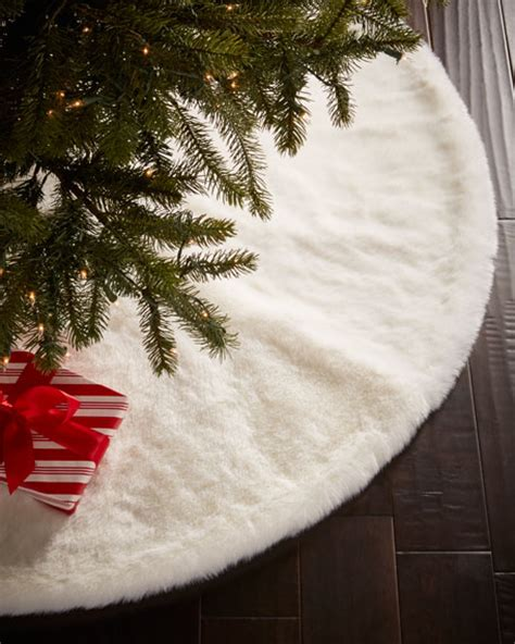 faux fur white mink christmas tree skirt neiman marcus