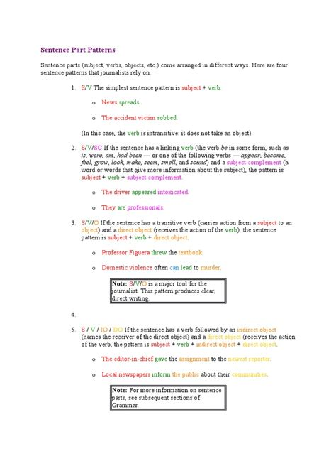 sentence pattern grammar sentence part patterns object grammar