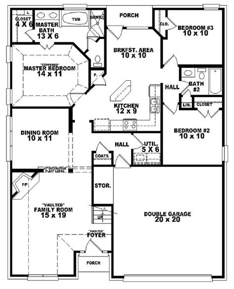 3 Bed 2 Bath Floor Plans by 654107 One And A Half Story 3 Bedroom 2 Bath French