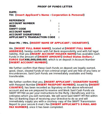 sle proof of funds letter 7 download free documents