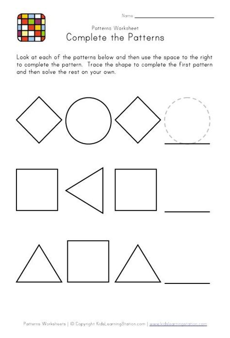 pattern activities pre k patterns worksheet for kinder holly s hobbiefree