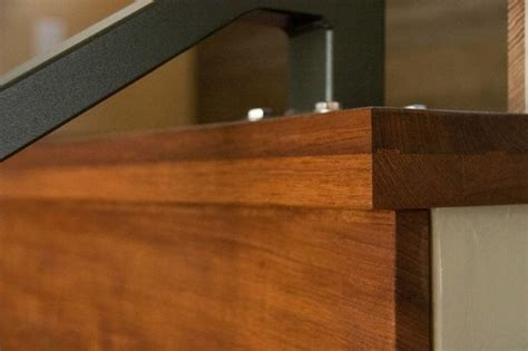 Solid wood thick stair tread detail of #FSC certified #