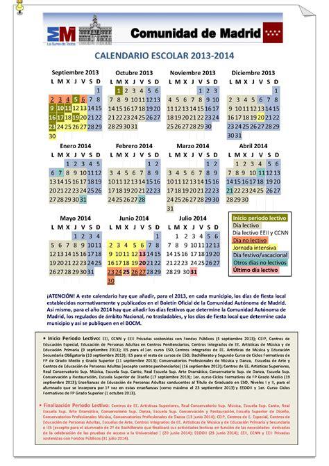 calendario escolar 2013 2014 madridorg calendario escolar 2013 2014 comunidad de madrid 193 rea de