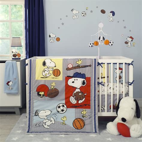 snoopy crib bedding snoopy sports lambs ivy