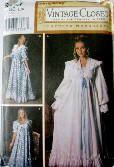 sewing pattern victorian nightgown simplicity 5188 women s victorian historical nightgown and