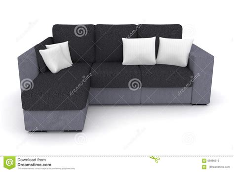 white couch with pillows gray sofa with white pillows stock illustration image