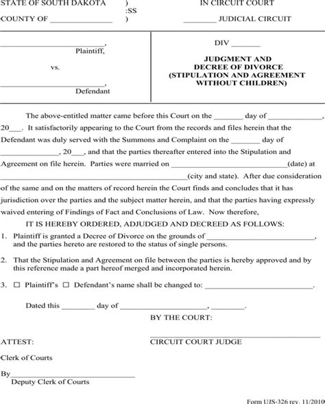 stipulation agreement template south dakota judgment and decree of divorce