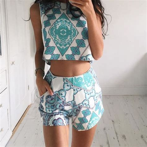 shorts pattern pinterest tumblr fashion two piece set crop top and shorts