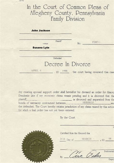 Divorce Decree Records Divorce Decree Sle