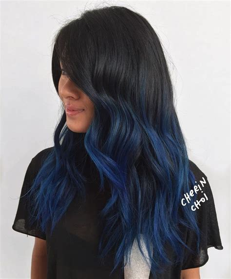 black hair with colored highlights best 25 blue hair highlights ideas on blue