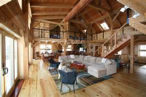 Barn Home Interiors mortise amp tenon joined barn timber frame