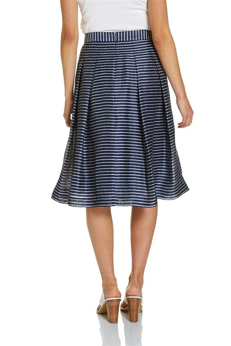 signature fit and flare stripe skirt sportscraft