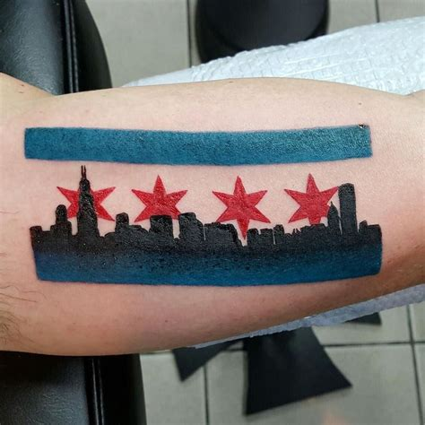 chicago skyline tattoo designs chicago flag and skyline by donmeatball