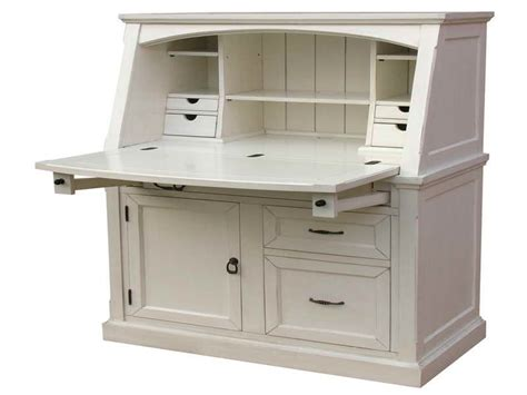 Furniture White Coastal Secretary Desks For Small Spaces