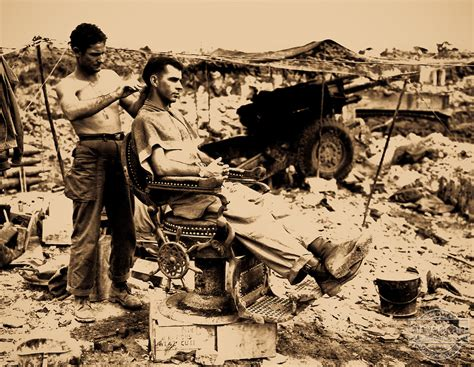 ww2 american military haircut haircut amidst the rubble wwii adi american photoarchive