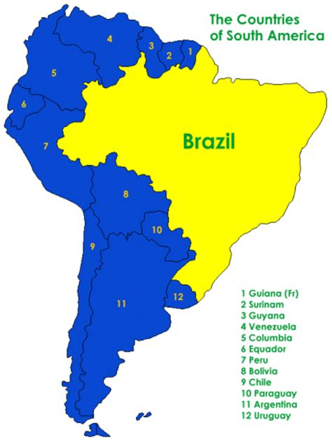 brazil south america map geography www learnontheinternet co uk