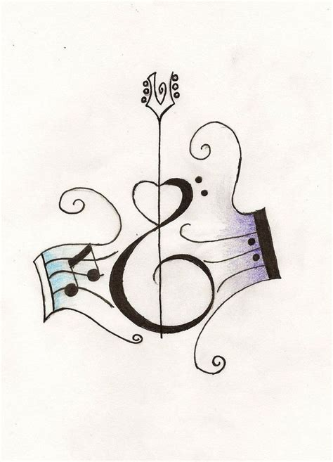 heart with music notes tattoo designs notes with shaped guitar design