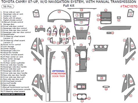 tire pressure monitoring 2011 toyota camry user handbook 2007 2011 toyota camry interior full dash trim kit w manual transmission w o navigation