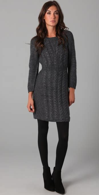 Sweater Dress - tibi cable knit sweater dress in gray lyst