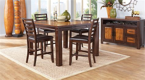 Rooms To Go Dining Furniture Adelson Chocolate 5 Pc Counter Height Dining Room Dining Room Sets Wood